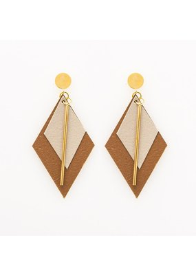 Ink + Alloy Champagne & Bronze Double Diamond Leather Earring