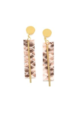 Ink + Alloy Pink Python Leather Rectangle Earring