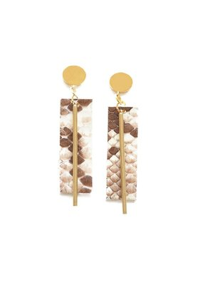 Ink + Alloy Ivory Python Leather Rectangle Earring