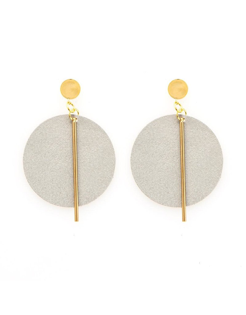 Ink + Alloy Grey Leather Circle Earrings