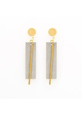 Ink + Alloy Grey Leather Rectangle Earrings