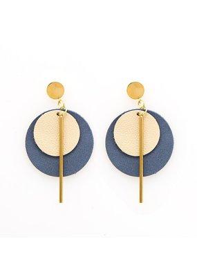Ink + Alloy Ivory & Indigo Double Circle Leather Earring