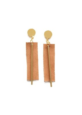 Ink + Alloy Camel Leather Rectangle Earrings