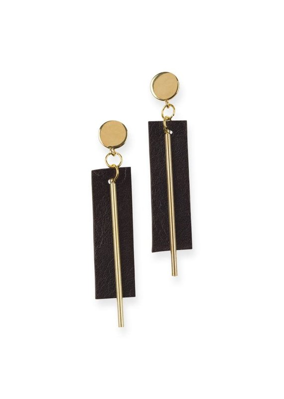 Ink + Alloy Black Leather Rectangle Earrings