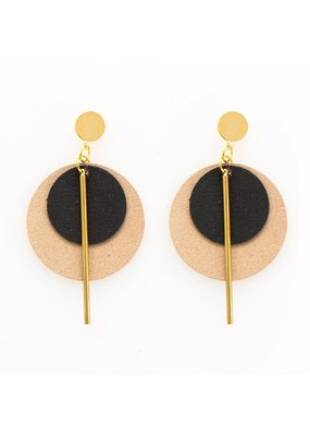 Ink + Alloy Black & Taupe Double Circle Leather Earring
