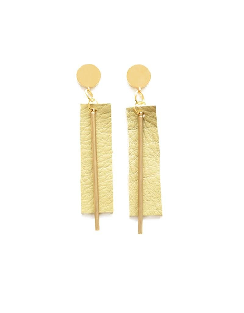 Ink + Alloy Citron Leather Rectangle Earrings