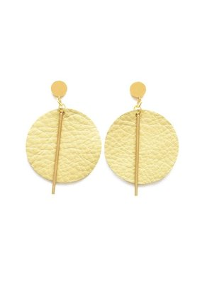 Ink + Alloy Citron Leather Circle Earrings