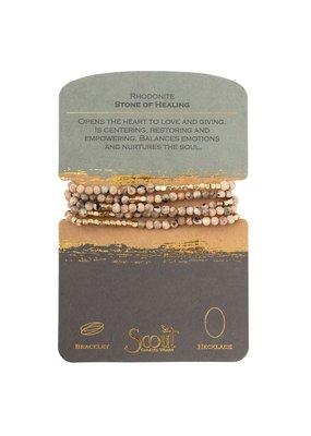 Scout Rhodonite & Gold Stone Wrap