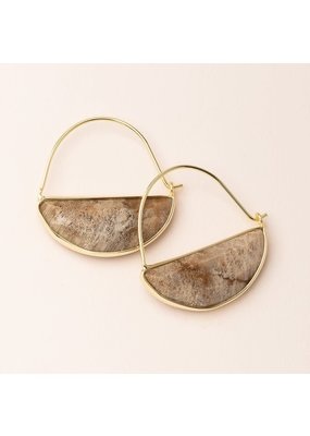 Scout Fossil Coral & Gold Stone Prism Hoop