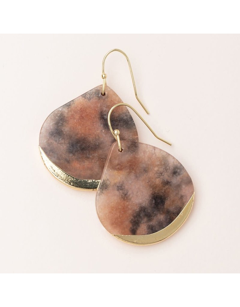 Scout Fossil Pink Agate Gold Stone Dipped Teardrop Earring