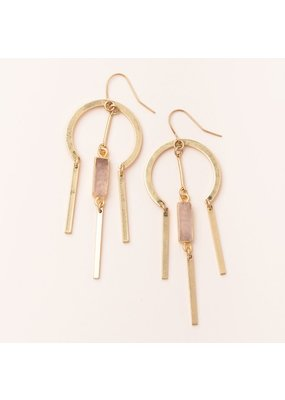 Scout Rose Quartz & Gold Dream Catcher Stone Earring