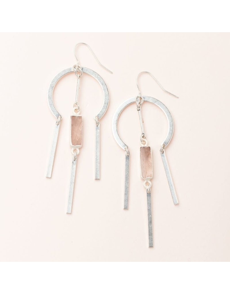 Scout Rose Quartz & Silver Dream Catcher Stone Earring