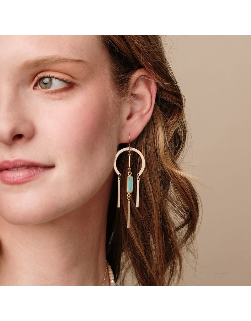Scout Turquoise & Gold Dream Catcher Stone Earring