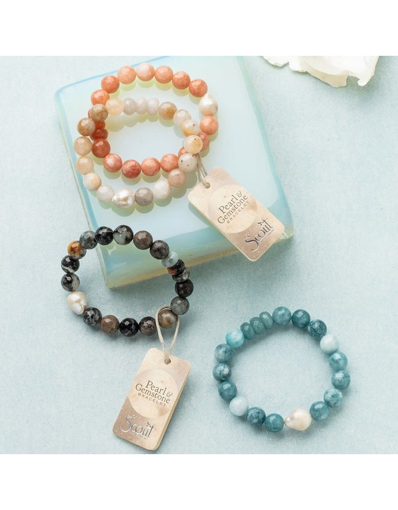 Scout Pearl & Black Agate Stacking Bracelet