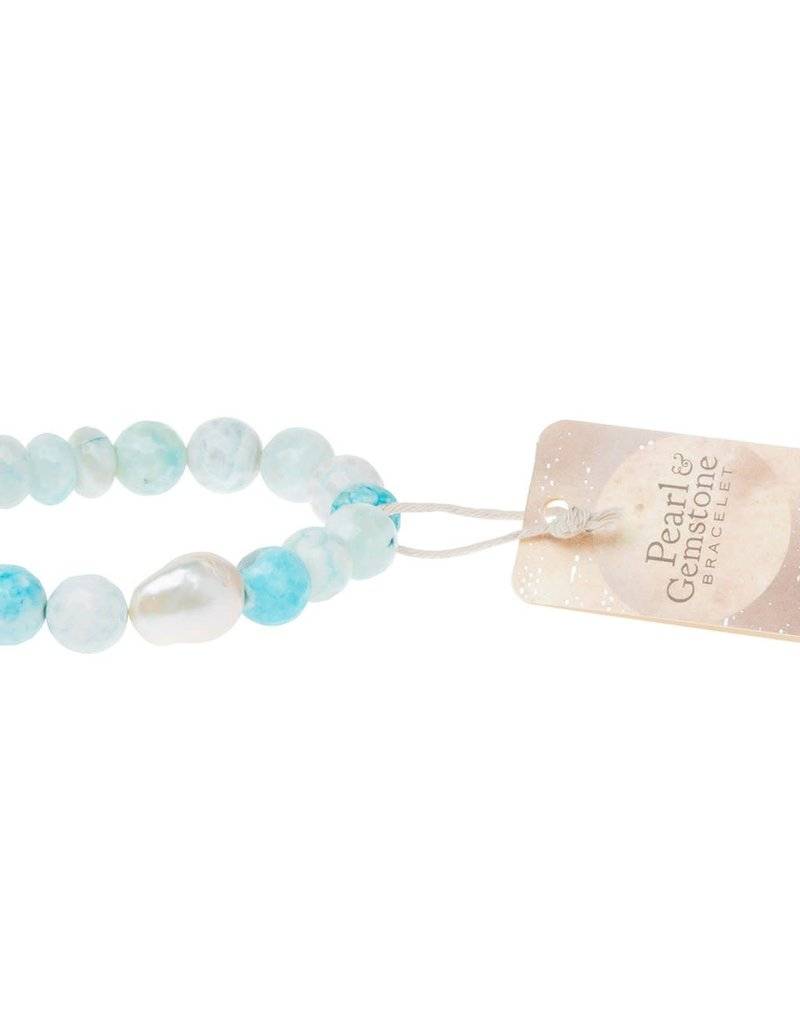Scout Pearl & Light Blue Agate Stacking Bracelet
