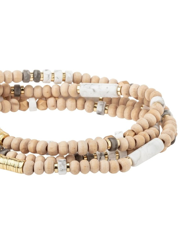 Scout Wood, Howlite & Gold Wrap