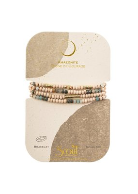 Scout Wood, Amazonite & Gold Wrap