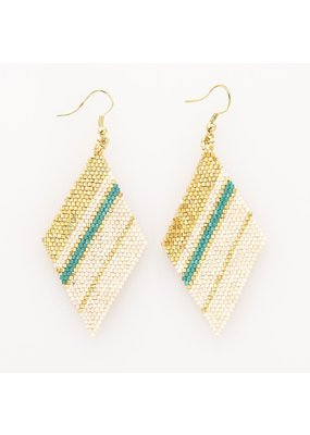 Ink + Alloy Teal Diamond Luxe Stripe Earring