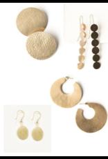 Ink + Alloy Simple Oval Drop Brass Earring