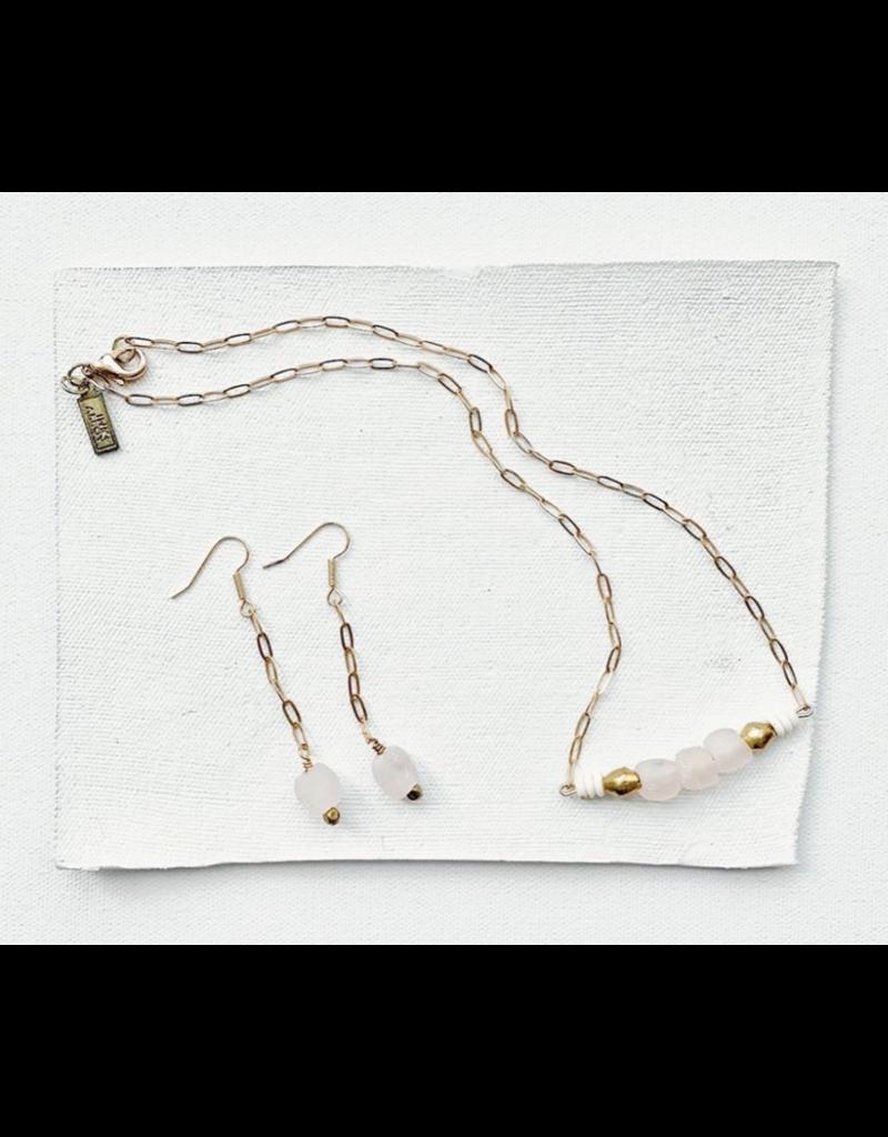 Ink + Alloy Pink Petite Ghana Recylced Glass Drop & Chain Earring