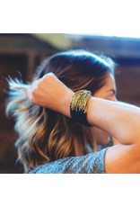 Ink + Alloy Multi-Strand Gold and Blue Bead Bracelet