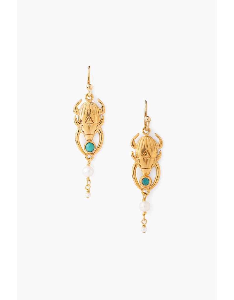 CHAN LUU 18k Gold Plate Turquoise Beatle Pearl Drop Earrings