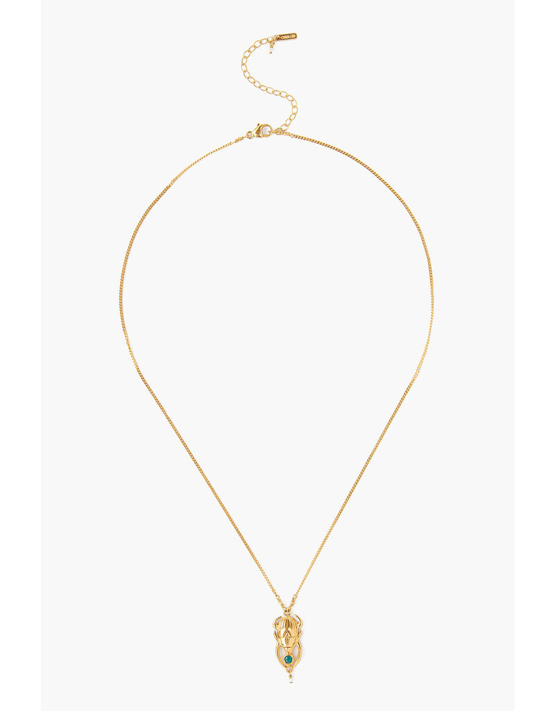 CHAN LUU 18k Gold Plate Turquoise Beatle Pearl Necklace