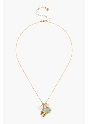 CHAN LUU 18k Gold Plate Amazonite Mix Charm Necklace