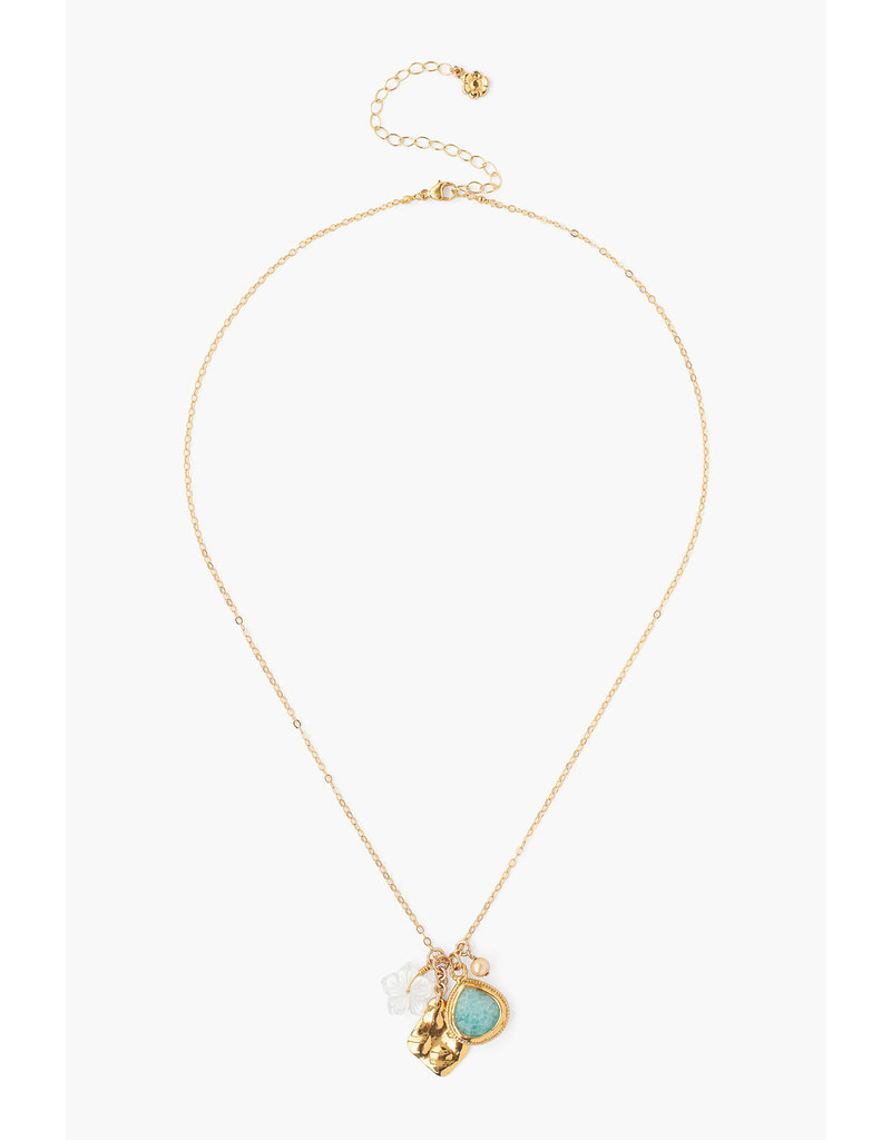 CHAN LUU 18k Gold Plate Amazonite Mix Charm Necklace