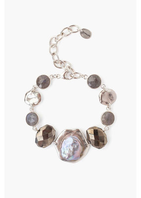 CHAN LUU Sterling Pyrite and Pearl Bracelet