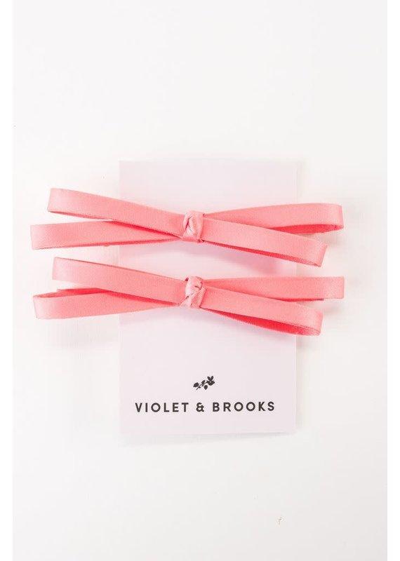 Violet & Brooks Mia Satin Bow Clip Pair Coral