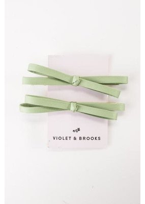 Violet & Brooks Mia Satin Bow Clip Pair Khaki