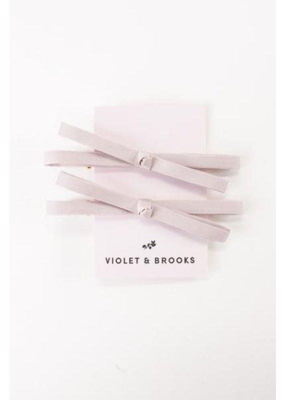 Violet & Brooks Mia Satin Bow Clip Pair Mauve
