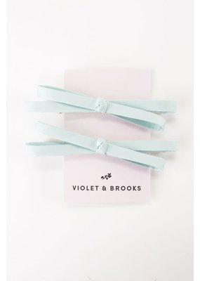 Violet & Brooks Mia Satin Bow Clip Pair Mint