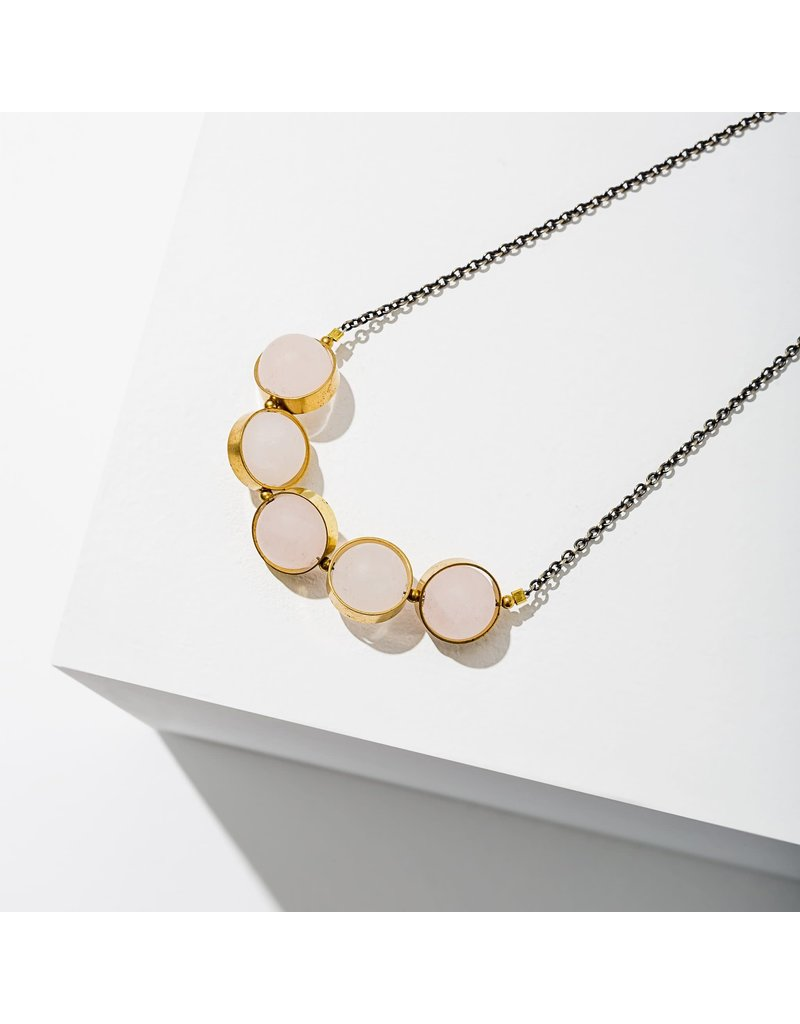 Larissa Loden Rose Quartz Alignment Brass Necklace