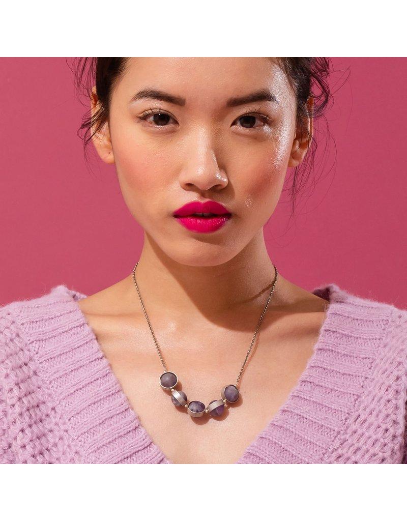 Larissa Loden Rose Quartz Alignment Silver Necklace