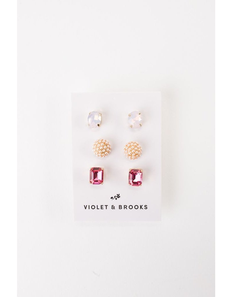 Violet & Brooks Cady Earring Trio Pink