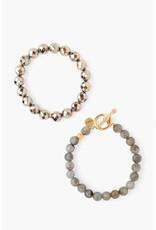 CHAN LUU Pyrite Mix Bracelet Set