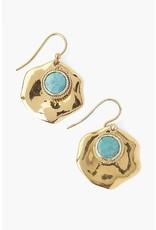 CHAN LUU Turquoise & Gold Thumbprint Earrings