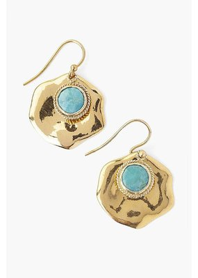 CHAN LUU Turquoise & Gold Thumbprint Earrings