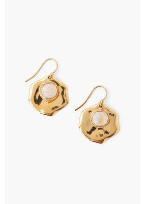 CHAN LUU Moonstone & Gold Thumbprint Earrings