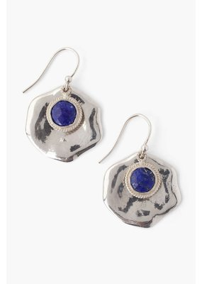 CHAN LUU Lapis & Silver Thumbprint Earrings