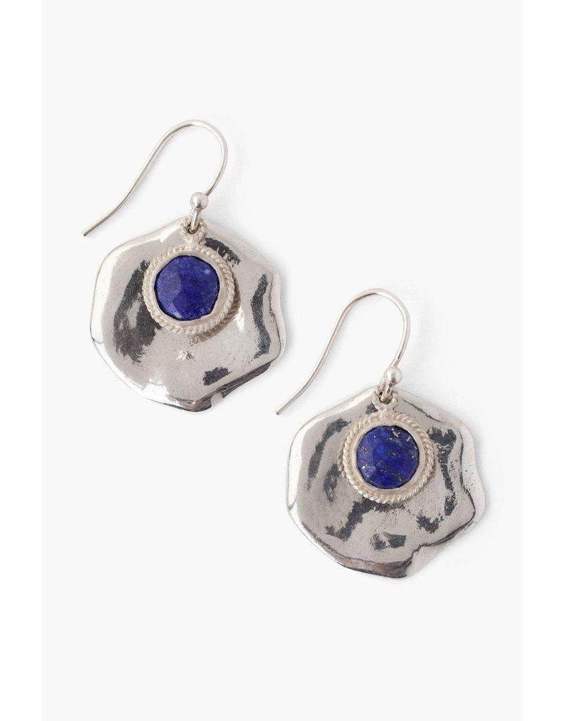 CHAN LUU Lapis & Silver Thumbprint Earrings
