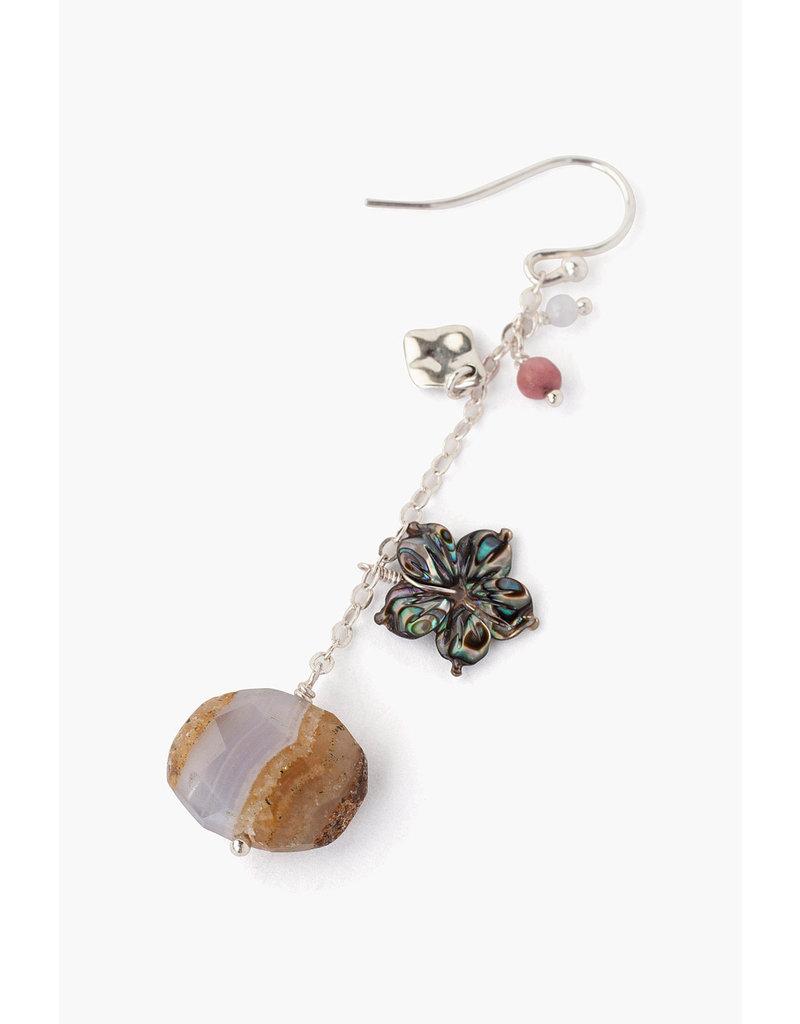 CHAN LUU Blue Chalcedony Stone & Shell Earrings