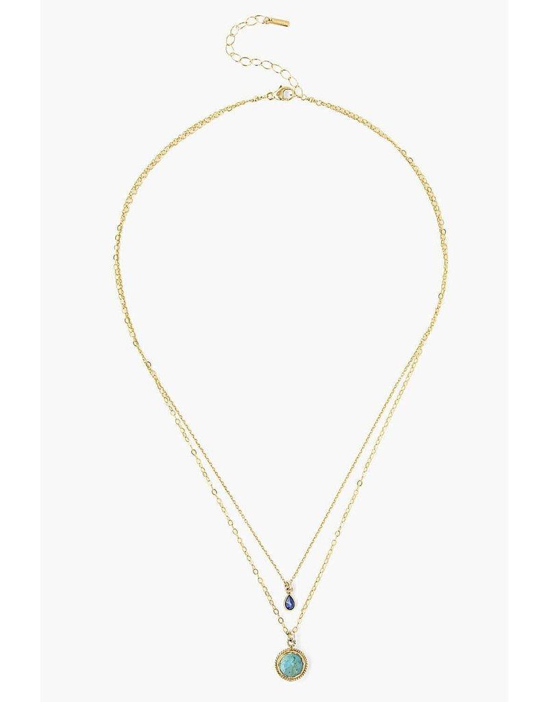 CHAN LUU Turquoise Mix Teardrop Layered Necklace