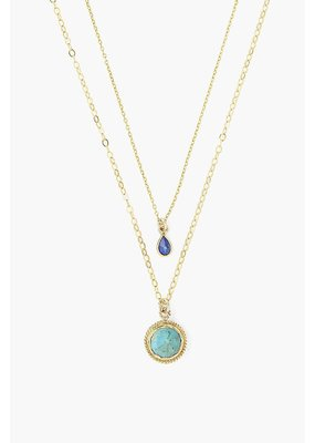 CHAN LUU Turquoise Mix Teardrop Layered Necklace