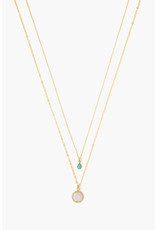 CHAN LUU Moonstone Mix Teardrop Layered Necklace