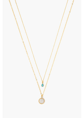 CHAN LUU Moonstone Mix Teardrop Layered Necklace