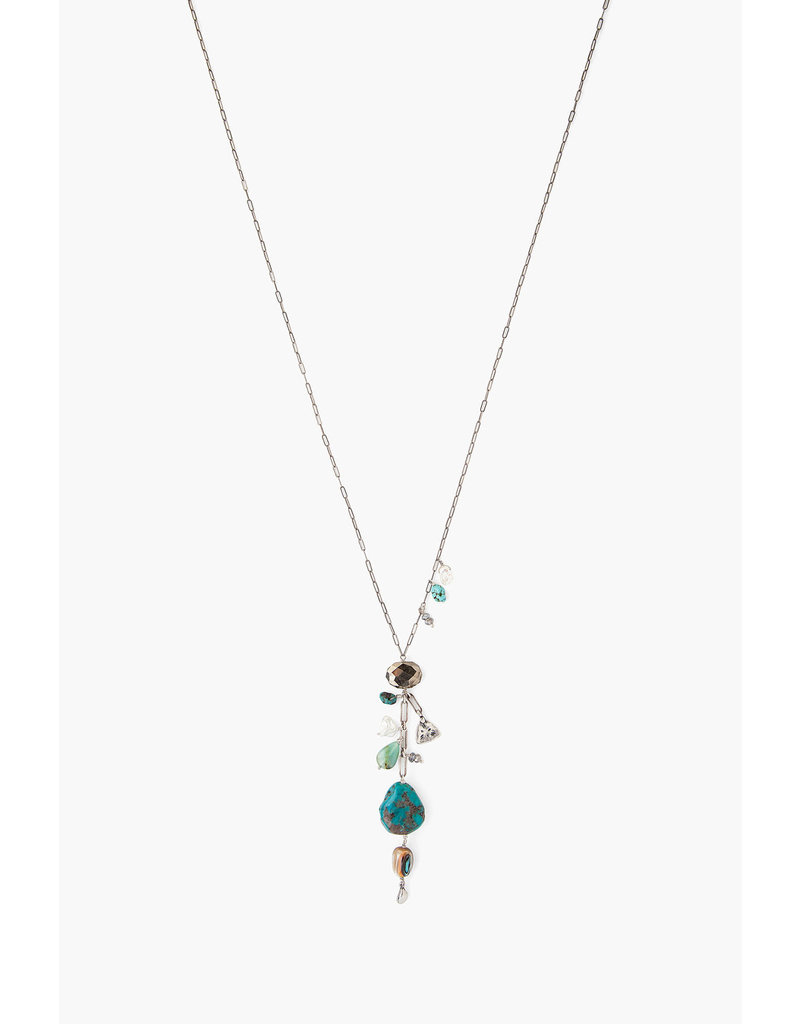 CHAN LUU Turquoise Mix Stone Charm Necklace