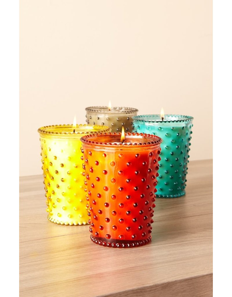 Simpatico Hobnail Glass Candle White Flower